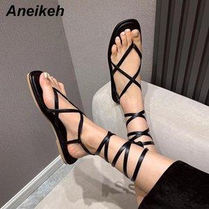 Aneikeh 2021 Nouveau Sexy Toe Toe Summer Appartement avec Pu Ouvrir une bracelet à lane à lane à lacets Rome Casual Casual Solide Blanc Blanc Noir 35-39