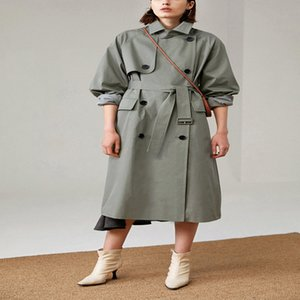 UK Brand new Fashion Fall  Autumn Casual Double breasted Simple Classic Long Trench coat with belt Chic Female windbreaker 201030