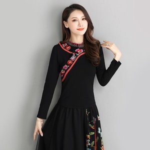 KYQIAO Original blouse women autumn Mexico style ethnic stand collar long sleeve green black red white embroidery blouse shirt