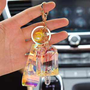 New Creative Glitter Key Chain Quicksand Keychain Liquid Floating Cream Keyring Backpack Pendant Couples Gift Jewelry EH148