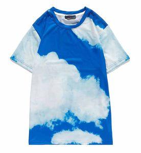 Designer Women T-shirt 20AW New Arrival Flower Printing T-shirt Fashion Men Women Sky Blue Comfort Cool Tee M-2XL