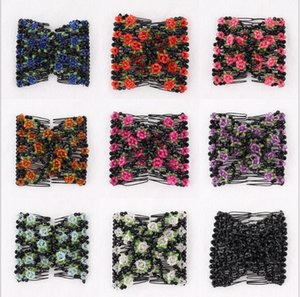 Vintage Jewelled Beaded Elastic Stretch Rose Flower Bow Cuff Double Insert Clips Headwear Magic Hair ps1769