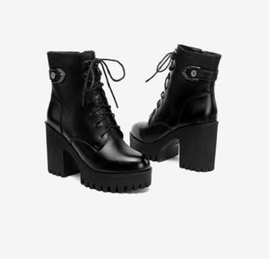 women boots winter snow booties black increase 8cm 10cm Thick heel womens boot cool leather shoes size 35-40 09