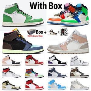 2020 avec la boîte Jumpman 1 hommes femmes chaussures de basket-ball sans Peur 1s air élevé Cactus Jack mi Milan satinJordanRetro baskets blanc cassé