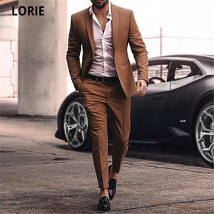 LORIE Wedding Groomsmen Men Business Formal Suit Party Prom Suit Sets Jacket+Pants Casual Groom Tuxedos Custom Made Plus Size
