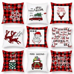 Noel Yastık Kılıfı Ekose Merry Christmas Yastık Örtüleri Noel ağacı Geyik Kamyon Yastık Ev Partisi Dekoratif 16 stilleri OWB2948