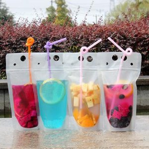 Hot 100pcs Clear Drink Pouches Bags frosted Zipper Stand-up Plastic Drinking Bag with straw with holder Reclosable Heat-Proof 17oz