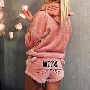 Women Coral Velvet Suit Two Piece Autumn Winter Pajamas Warm Sleepwear Cute Cat Meow Pattern Hoodies Shorts warm Set homme1