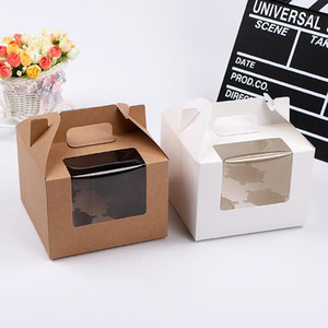 9 stücke cupcake muffin box kuchen becher packaging weiß kraft papier bodenhalter pudding gebäck marvin boxen für geschenk party1