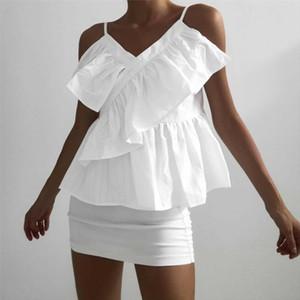 Women V Neck Sling Stripe Shirt Top Cold Shoulder Summer Ruffled Frill Blouse Summer Casual Tops Multil color Tank Tops T Shirt