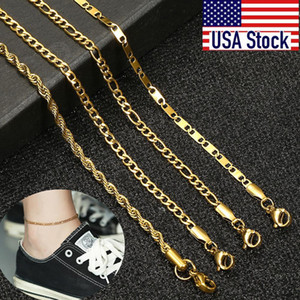 Kam01b Anklet Rope Simple For Summer 10inch Women Figaro Bracelets Stainless Chain Link Jewelry Unisex Leg Steel Curb tsetOOB jeneffer