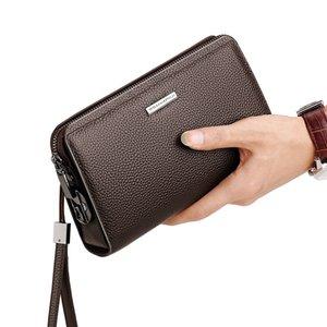 Portefeuille long Portefeuille Mot de passe Lock Sac à main en cuir pour hommes Grand capacité d'embrayage en cuir souple C0122
