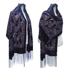 New Black Glitter Muslim Shawl Women Cashew Print Burnout Velvet Scarf Winter Wedding Ponchos For Lady 201026