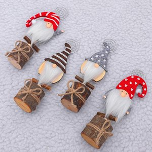 Christmas Wood Gnome Name Card Note Photo Holder Clip Diy Home Party Decoration For Christmas Party Use Christmas Tree Toppers jllBaa
