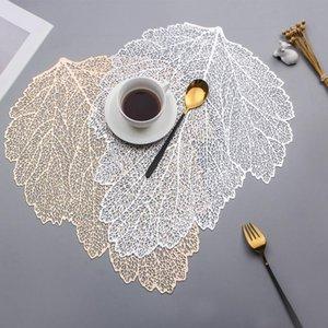 Placemat tavolo da pranzo sottobicchieri foglia simulazione pianta PVC tazza di caffè tazza tappetini cavo cucina natale decorazione domestica regali AHD3861