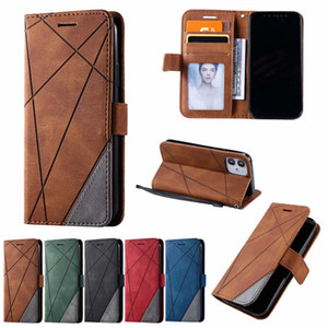 PU Leather Wallet Phone Case for iPhone 12 11 Pro Max Samsung Galaxy S20 Ultra Note20 Geometric Polygon Design Flip Stand Cover Case