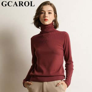 GCAROL Women Crochet Turtleneck Slim Sweater 30% Wool Daily Tight Fit Jumper Warm Fall Winter OL Render Knitted Pullover 2X 201017