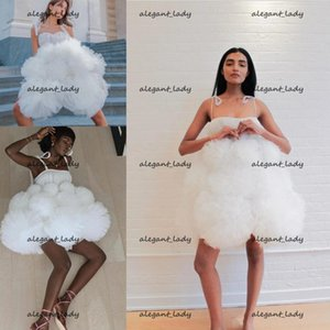 Little White Dress 2021 Spaghetti Cloud Fun and Flirty Evening Cocktail Dresses Handmade Flower Ball Occasion Prom Gowns