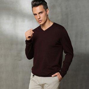 Wywan 2020 Pullover corto de cuello en V Masculino de Wywan 2020, suéter de fondo de tamaño grande, suéter regular hombres