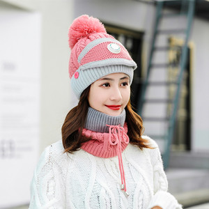 New 3 Pieces Set Women's Knitted Hat Scarf Caps Neck Warmer Winter Hat For Ladies Girls Skullies Beanies Warm Fleece Caps WXY059