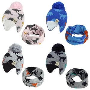 Toddler Hat Knitted Baby Ear Hats With Scarf Newborn Pompom Beanie Neckerchief Sets Winter Boys Bonnet Kids Accessories 4 Colors DW5973