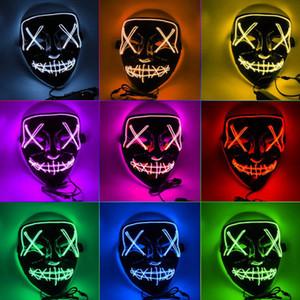Halloween Horror Maske leuchtende LED Masken Purge Masken Wahl Mascara Kostüm DJ Party Light Up Masken Glow In Dark 10 Farben geben Verschiffen
