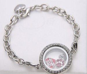 Silver Crystal round Circle Living Memory Locket Bracelet For Floating Charms Lobster Claspps2470