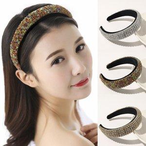 Women Luxury Rhinestone Headband Baroque Beads Bezel Hair hoop Korea Hairband Girls Bride Wedding Hair Accessories Headwear