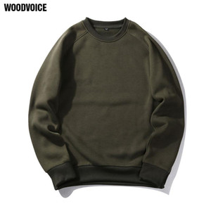 Woodvoice Brand Clothing New Arrival Casual Pullover Men Autumn Round Neck Solid Colorful Plus Size Euro US Size Eight Colors
