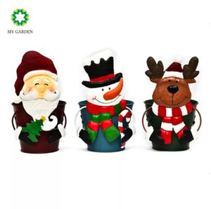 MY GARDEN Painted Glass And Iron Framed Christmas Candlestick For Santa Claus Or Snowman Creative Green Planter Iron Decoration