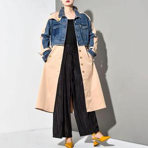 2020 nouveau printemps coupe-vent Femmes Mode manches longues Denim Lapel de Split Joint en vrac long Big Size Jacket Manteau Femme Automne Tide