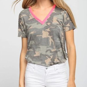 Women Casual V neck Camouflage Military Camo Shirt Short Sleeve T shirt Ladies Tops Ladies Tee Short Sleeve T Shirt