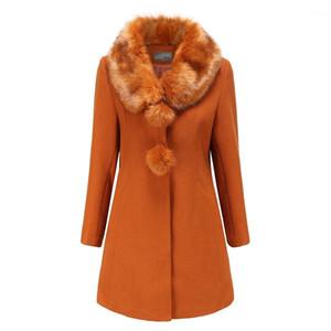 Шерсть Пальто нагрудные Шея с длинным рукавом сплошной цвет Толстые дамы Blends куртки вскользь женщина Сыпучие Верхняя одежда Зима женщин Длинные