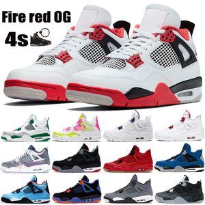 New 4 4s de incêndio vermelho OG Jumpman sapatos masculinos de basquete pinho verde metálico roxo preto produziu o gato jack cactus Monsoon azul das sapatilhas dos homens