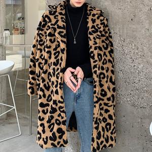 Streetwear Outerwear Lovers Overcoat Leopard Print Windbreaker Men Coat Vintage Leopard Faux Fur Loose Long Trench Jacket Male 201022
