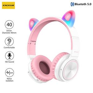 Дети Bluetooth5.0 Cute Cat Ear Наушники Беспроводные наушники Hi-Fi стерео наушники с функцией шумоподавления LED Светящиеся с микрофоном