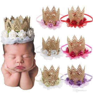 Children birthday party flowers crown headbands boutique girls stereo lace flowers elastic hairbands For baby kids