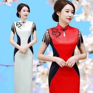 Abito tradizionale del vestito cinese migliorato delle donne Banquet Cheongsam Bianco e rosso Vestidos Elegante Slim Qipao1