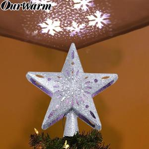 OurWarm 3D del brillo de la estrella de Navidad del primero del árbol con una función de Rotación de copo de nieve LED proyector de ornamento de navidad Decoración