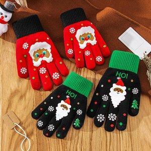 Christmas Glove Full Finger Touch Screen Snowflake Knitted Warm Gloves Unisex Kniting Snowflake Kids Adult Five Fingers Gloves LJJP640