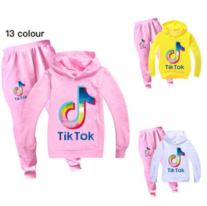 Youth TIK TOK Hoodies and Fashion Sweatpants Tracksuit Tiktok Kid Hooded Sweatshirt+Print Pant 2PC Outfit Children Sport Suit 12 Year