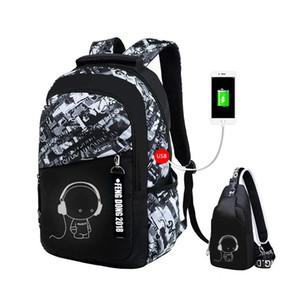2pcs set bags kids boys bookbag shoulder children backpacks school backpack for boy chest bag man back pack Y200615