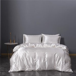 Upgraded 100% Satin Silk Bedding Set Quilt Duvet Cover and Pillowcase Bed Sheet Set Single Double Bedclothes Silky Bed Set