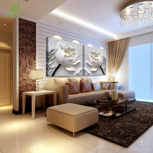 3D Art lotus picture Modular paintings on the wall paintings for the kitchen picture room posters and prints nordic poster