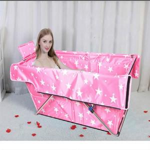 Vasca da bagno pieghevole non sfiale Pieghevole due volte portatile Barilotto da bagno con cuscino Sauna Adulto Portatile Bathtub