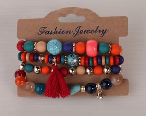 4 teile / set Mode Multilayer Kristall Süßigkeiten Perlen Quaste Armbänder Armreifen Strang Stretch Freundschaft Armbänder Für Frauen LLS476