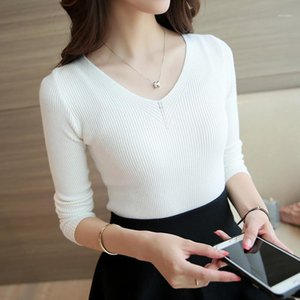2020 Autumn and Winter V-neck Knitted Shirt Bottoming Top Blouse Female Slim Shirt1