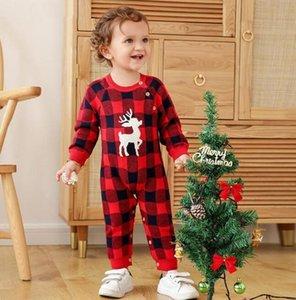 Weihnachten INS Säugling Baby-Mädchenspielanzug Overalls Pullover Overalls Front Bodysuits Holz Knopf neugeborene Kleinkind