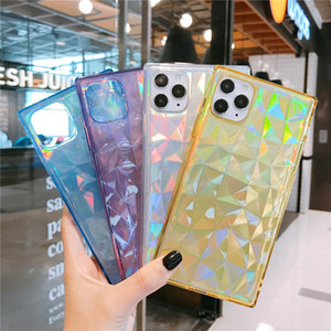 Luxury Laser Square Glitter Phone Case For Iphone 11 11pro Max Xr Xs Max X Shockproof Bling Soft Tpu Transparent + Laser Paper Cover