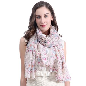 Luxury-Fashion Robin Bird Print Women's Scarf Shawl Wrap Large Size Soft Light Weight for All Seasons